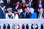 Prince Charles and Princess Diana, accompanied by United States Vice President George H.W. Bush and Barbara Bush walk away from the Washington National Cathedral in Washington, DC at the conclusion of services on November 10, 1985.<br /> Credit: Arnie Sachs / CNP