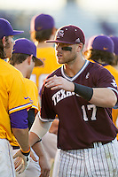 Texas A&M Aggies infielder Logan Taylor (17) following the Southeastern Conference baseball game against the LSU Tigers on April 25, 2015 at Alex Box Stadium in Baton Rouge, Louisiana. Texas A&M defeated LSU 6-2. (Andrew Woolley/Four Seam Images)