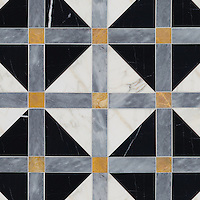 Claudius, a hand-cut stone mosaic, shown in polished Allure, Xanadu, Nero marquina, and honed Calacatta gold.