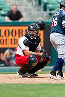 Fresno Grizzlies catcher Taylor Gushue (19) during a game against the Reno Aces at Chukchansi Park on April 8, 2019 in Fresno, California. Fresno defeated Reno 7-6. (Zachary Lucy/Four Seam Images)