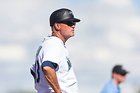 Peoria Javelinas manager Daren Brown (43), of the Seattle Mariners organization, during an Arizona Fall League game against the Glendale Desert Dogs at Peoria Sports Complex on October 22, 2018 in Peoria, Arizona. Glendale defeated Peoria 6-2. (Zachary Lucy/Four Seam Images)