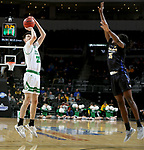 SIOUX FALLS, SD - MARCH 8: Kienan Walter #23 of the North Dakota Fighting Hawks shoots a jumper against the PFW Mastodons at the 2020 Summit League Basketball Championship in Sioux Falls, SD. (Photo by Dave Eggen/Inertia)