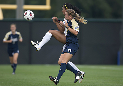 September 01, 2013:  Notre Dame defender Sammy Scofield (11) and UCLA forward Darian Jenkins (11) battle for the ball during NCAA Soccer match between the Notre Dame Fighting Irish and the UCLA Bruins at Alumni Stadium in South Bend, Indiana.  UCLA defeated Notre Dame 1-0.