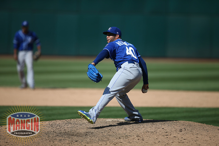 OAKLAND, CA - AUGUST 16:  Kelvin Herrera #40 of the Kansas City Royals pitches against the Oakland Athletics during the game at the Oakland Coliseum on Wednesday, August 16, 2017 in Oakland, California. (Photo by Brad Mangin)