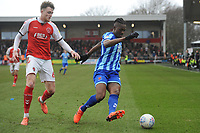 Blackpool's Armand Gnanduillet under pressure from Fleetwood Town's Harry Souttar<br /> <br /> Photographer Kevin Barnes/CameraSport<br /> <br /> The EFL Sky Bet League One - Fleetwood Town v Blackpool - Saturday 7th March 2020 - Highbury Stadium - Fleetwood<br /> <br /> World Copyright © 2020 CameraSport. All rights reserved. 43 Linden Ave. Countesthorpe. Leicester. England. LE8 5PG - Tel: +44 (0) 116 277 4147 - admin@camerasport.com - www.camerasport.com