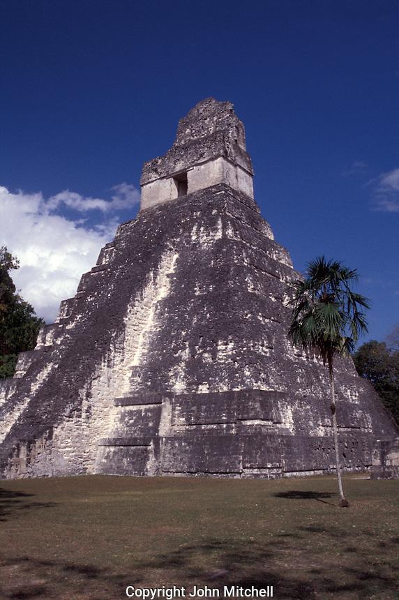 Temple I or Temple of the Grand Jaguar at the Mayan ruins of Tikal, Guatemala