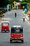 Nicaragua / San Juan de Oriente / Pueblo Blanco / Main Street / Three Wheel Taxi / Che Guavera.Portrait / Transportation