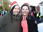 Leanig Gaudin and Sklaerenn Molac who took part in the Termonfeckin Celtic FC Santa run. Photo:Colin Bell/pressphotos.ie