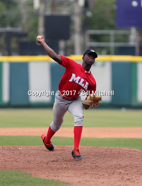 Juan Carela participates in the MLB International Showcase at Estadio Quisqeya on February 22-23, 2017 in Santo Domingo, Dominican Republic.