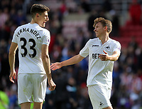 SUNDERLAND, ENGLAND - MAY 13: (L-R) Federico Fernandez of Swansea City  and Tom Carroll celebrate their team's win during the Premier League match between Sunderland and Swansea City at the Stadium of Light, Sunderland, England, UK. Saturday 13 May 2017