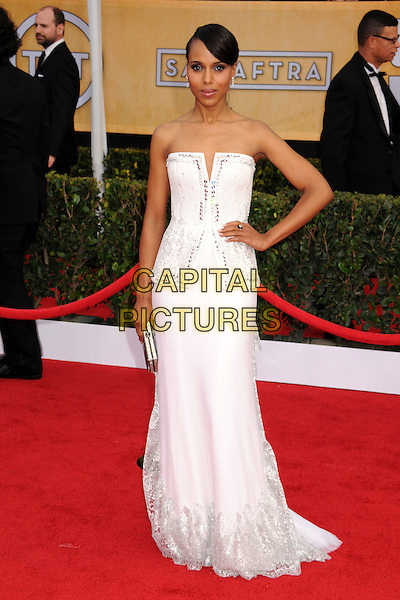 Kerry Washington (wearing Rodarte).Arrivals at the 19th Annual Screen Actors Guild Awards at the Shrine Auditorium in Los Angeles, California, USA..27th January 2013.SAG SAGs full length white dress strapless gown structured bodice silver clutch bag hand on hip.CAP/ADM/BP.©Byron Purvis/AdMedia/Capital Pictures