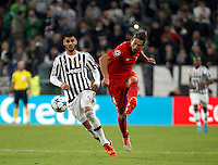 Calcio, Champions League: Gruppo D - Juventus vs Siviglia. Torino, Juventus Stadium, 30 settembre 2015. <br /> Sevilla's Grzegorz Krychowiak, right, is challenged by Juventus&rsquo; Alvaro Morata during the Group D Champions League football match between Juventus and Sevilla at Turin's Juventus Stadium, 30 September 2015. <br /> UPDATE IMAGES PRESS/Isabella Bonotto