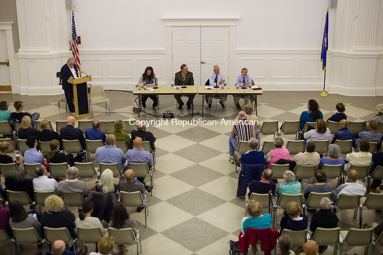 WASHINGTON, CT- 22 October 2015-102215EC11-  Candidates from Washington speak to residents gathered at Bryan Memorial Town Hall. On the far left is Debbie Forese, an unaffiliated candidate challenging Mark Lyon, who is next to her. Lyon is the Republican incumbent. Erin Covey Republican-American
