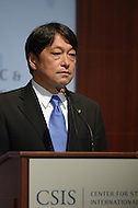 Washington, DC - July 11, 2014: Japanese Defense Minister Itsunori Onodera speaks about Japan's defense policy before an audience at the Center for Strategic and International Studies in the District of Columbia, July 11, 2014.  (Photo by Don Baxter/Media Images International)