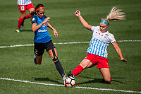 Kansas City, MO - Wednesday August 16, 2017: Shea Groom, Julie Ertz during a regular season National Women's Soccer League (NWSL) match between FC Kansas City and the Chicago Red Stars at Children's Mercy Victory Field.