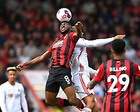 Jefferson Lerma of AFC Bournemouth wins a header from David McGoldrick of Sheffield United during AFC Bournemouth vs Sheffield United, Premier League Football at the Vitality Stadium on 10th August 2019
