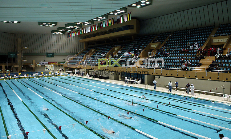 Pix: Simon Wilkinson/SWpix.com. 1st Islamic Solidarity Games 2005. The Kingdom of Saudi Arabia. Jeddah, Madina, Mecca and Taif. Swimming, Jeddah Olympic Pool...copyright picture>>simon Wilkinson>>07811 267 706>>..General View, Pool
