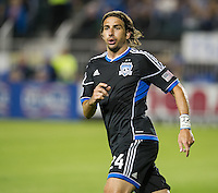 SANTA CLARA, CA - April 6, 2013: San Jose forward Alan Gordon (24) during the San Jose Earthquakes vs Vancouver Whitecaps FC game at Buck Shaw Stadium in Carson, California. Final score San Jose Earthquakes 1, Vancouver Whitecaps FC 1.