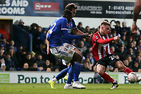 Jake Hesketh of Lincoln City and Aristote Nsiala of Ipswich Town during Ipswich Town vs Lincoln City, Emirates FA Cup Football at Portman Road on 9th November 2019