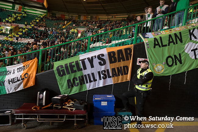 Scotland 1 Republic of Ireland 0, 14/11/2014. Celtic Park, European Championship qualifying. Away fans' flags draped over railings inside the stadium before the European Championship qualifying match between Scotland and the Republic of Ireland at Celtic Park, Glasgow. Scotland won the match by one goal to nil, scored by Shaun Maloney 16 minutes from time. The match was watched by 55,000 at Celtic Park, the venue chosen to host the match due to Hampden Park's unavailability following the 2014 Commonwealth Games. Photo by Colin McPherson.