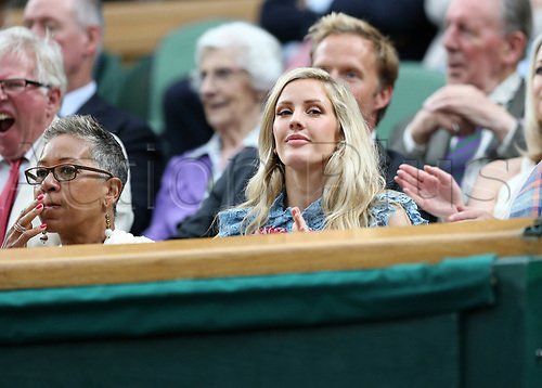July 11th 2017, All England Lawn Tennis and Croquet Club, London, England; The Wimbledon Tennis Championships, Day 8; Singer Ellie Goulding watching from the royal box; Konta (GBR) versus Simona Halep (ROU)