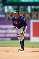 Rome Braves second baseman Luis Mejia (9) during a game against the Lexington Legends on May 23, 2018 at Whitaker Bank Ballpark in Lexington, Kentucky.  Rome defeated Lexington 4-1.  (Mike Janes/Four Seam Images)