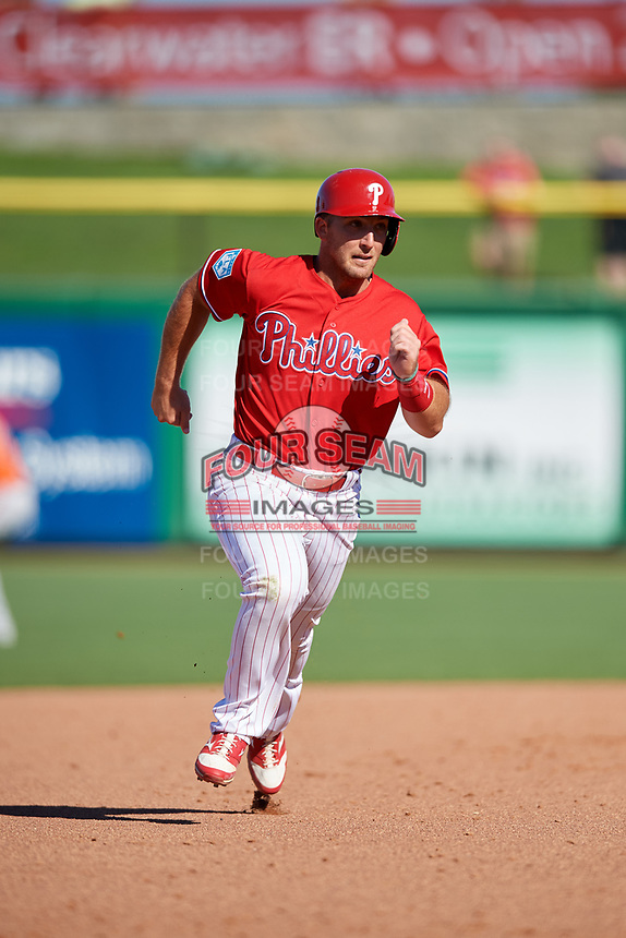 Philadelphia Phillies first baseman Austin Listi (76) runs the bases during a Grapefruit League Spring Training game against the Baltimore Orioles on February 28, 2019 at Spectrum Field in Clearwater, Florida.  Orioles tied the Phillies 5-5.  (Mike Janes/Four Seam Images)