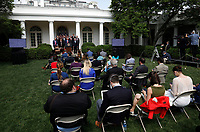 White House seats journalists without social distancing during United States President Donald J. Trump's remarks and signing H.R. 7010 - PPP Flexibility Act of 2020 in the Rose Garden of the White House in Washington, DC on June 5, 2020.<br /> Credit: Yuri Gripas / Pool via CNP/AdMedia