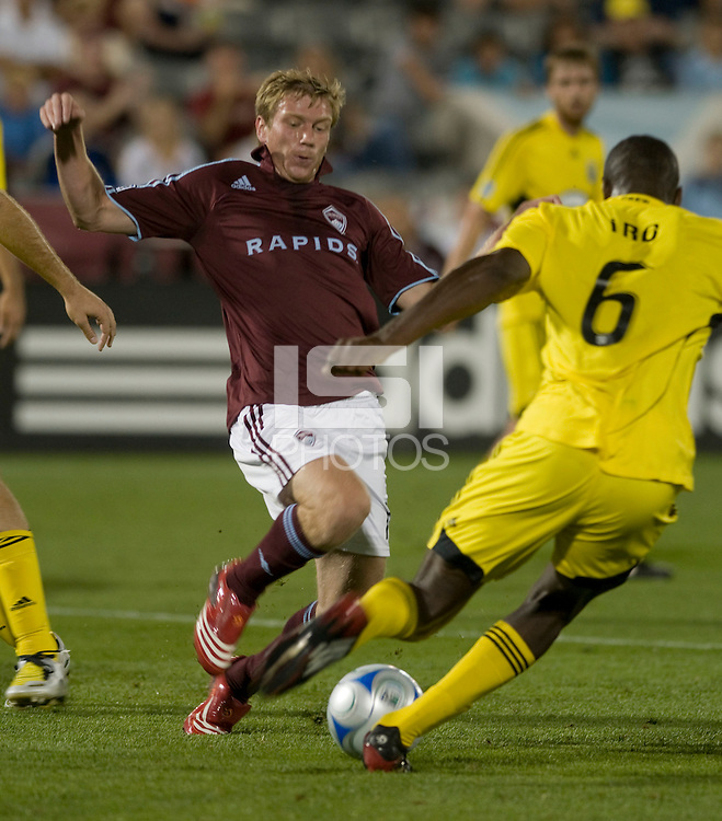 Jacob Peterson. The Columbus Crew defeated the Colorado Rapids 2-0, Sunday, July 27, 2008 at Dick's Sporting Goods Park in Denver, Colorado.