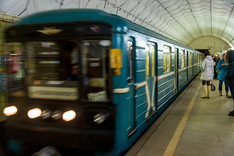MOSCOW - CIRCA MARCH 2013: Train aproaching Sportivnaya Metro Station circa march 2013. With a population of more than 11 million people is one the largest cities in the world and a popular tourist destination.