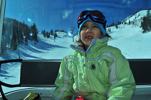 Emma Shapera, 8.riding Needels Gondola on a sunny February day. Snowbasin Resort, Utah.... .