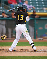 Rey Navarro (13) of the Salt Lake Bees at bat against the Fresno Grizzlies in Pacific Coast League action at Smith's Ballpark on April 17, 2017 in Salt Lake City, Utah. The Bees defeated the Grizzlies 6-2. (Stephen Smith/Four Seam Images)