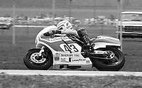 Daytona 200 motorcycle action , Daytona International Speedway, Daytona Beach, FL, March 1983.  (Photo by Brian Cleary/www.bcpix.com)