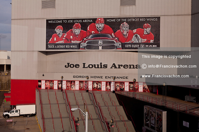 The Gordie Howe entrance of the Joe Louis Arena is seen in Detroit (Mi) Saturday June 8, 2013. Joe Louis Arena, nicknamed The Joe, is a hockey arena located in downtown Detroit, Michigan.