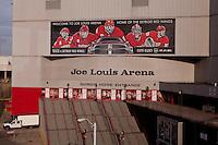 The Gordie Howe entrance of the Joe Louis Arena is seen in Detroit (Mi) Saturday June 8, 2013. Joe Louis Arena, nicknamed The Joe, is a hockey arena located in downtown Detroit, Michigan.