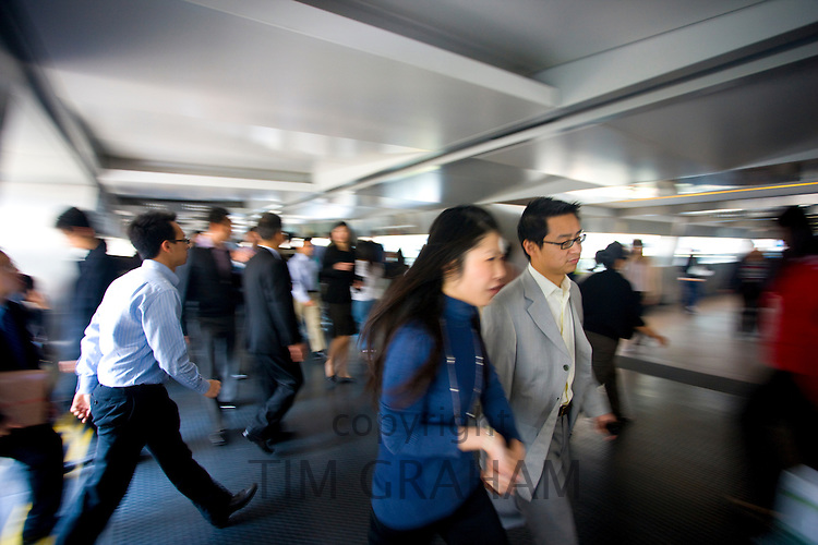 Busy elevated walkways in Hong Kong Financial District, Connaught Road, Central Hong Kong Island, China