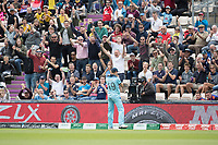 To the delight of the crowd Chris Wakes (England) turns after catching Andre Russell (West Indies) during England vs West Indies, ICC World Cup Cricket at the Hampshire Bowl on 14th June 2019
