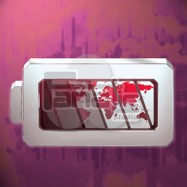 Illustrative image of world in battery representing degradation