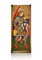 Gothic altarpiece of Archangel Michael ( Sant Miguel Arcangel) by Blasco de Branen of Saragossa, circa 1435-1445 , tempera and gold leaf on for wood.  National Museum of Catalan Art, Barcelona, Spain, inv no: MNAC   114741. Against a white background.