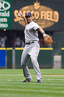 July 23, 2008:  Mike Lowell of the Boston Red Sox plays catch prior to a game against the Seattle Mariners at Safeco Field in Seattle, Washington.