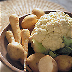 bowl of white vegetables containing folic acid and vitamin B6