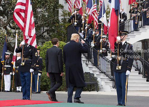 United States President Donald J. Trump President Emmanuel Macron of France depart the podium during a state visit to The White House in Washington, DC, April 24, 2018. Credit: Chris Kleponis / Pool via CNP