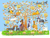 Kate, CUTE ANIMALS, LUSTIGE TIERE, ANIMALITOS DIVERTIDOS, paintings+++++Halloween tree 6,GBKM316,#ac#, EVERYDAY