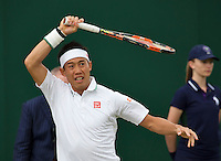 London, England, 2 July, 2016, Tennis, Wimbledon, Kei Nishikori (JAP) in his match against Andrey Kuznetsov (RUS)<br /> Photo: Henk Koster/tennisimages.com