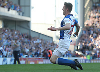 Blackburn Rovers' Darragh Lenihan celebrates scoring his side's first goal  <br /> <br /> Photographer Rachel Holborn/CameraSport<br /> <br /> The EFL Sky Bet League One - Blackburn Rovers v Oxford United - Saturday 5th May 2018 - Ewood Park - Blackburn<br /> <br /> World Copyright &copy; 2018 CameraSport. All rights reserved. 43 Linden Ave. Countesthorpe. Leicester. England. LE8 5PG - Tel: +44 (0) 116 277 4147 - admin@camerasport.com - www.camerasport.com