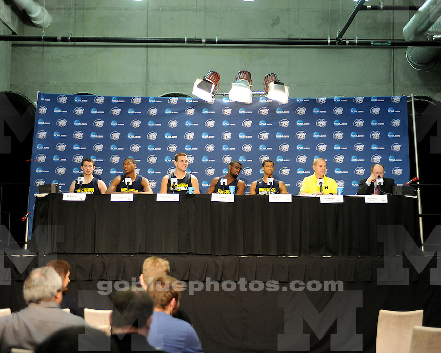 The University of Michigan men's basketball team press conference and interviews on March 30, 2013, prior to the Elite 8 game against Florida at Cowboys Stadium in Arlington, Texas.