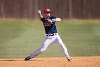 Shippensburg Raiders shortstop Mike Marcinko (2) makes a throw to first base during infield practice prior to the game against the Belmont Abbey Crusaders at Abbey Yard on February 8, 2015 in Belmont, North Carolina.  The Raiders defeated the Crusaders 14-0.  (Brian Westerholt/Four Seam Images)
