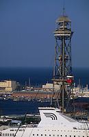 Europe/Espagne/Catalogne/Barcelone : Le port et le téléphérique depuis le jardin botanique