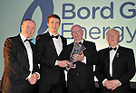At the Bord G&aacute;is Energy Munster GAA Sports Star of the Year Awards in The Malton Hotel, Killarney on Saturday night were front from left, Dave Kirwan, Managing Director, Bord Gais Energy, Ronan  Lynch, Limerick, Minor Hurling,Mike Fitzgerald, Treasurer, Munster Council and Robert Frost, Chairman, Munster GAA.<br /> Picture by Don MacMonagle<br /> <br /> PR photo from Munster Council