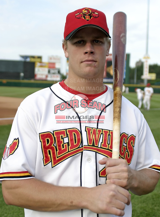 June 14, 2004:  First baseman Justin Morneau (33) of the Rochester Red Wings, Triple-A International League affiliate of the Minnesota Twins, during a game at Frontier Field in Rochester, NY.  Photo by:  Mike Janes/Four Seam Images